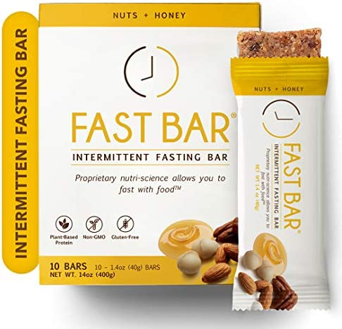 Fast Bar , Nuts & Honey, Gluten Free, Plant Based Protein Bar For Weight Management & Intermittent Fasting (10 Count Box) 1