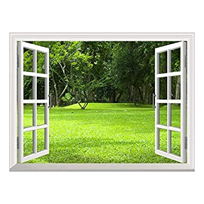 With Expert Quality, Beautiful Handicraft, Removable Wall Sticker Wall Mural Garden Green Grass Creative Window View Wall Decor