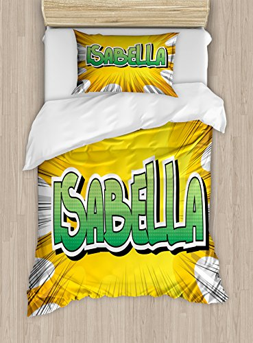 Ambesonne Isabella Twin Size Duvet Cover Set, American Birth Name on Retro Style Fun Cartoon Backdrop Poster Design, Decorative 2 Piece Bedding Set with 1 Pillow Sham, Yellow Green and White