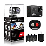 SSA WIFI Sports Action Camera Ultra HD 12MP Waterproof DV Camcorder 170 Degree Wide Angle 2 Inch LCD Screen w/ 2.4G Wireless Remote Control/ 3 Rechargeable Batteries/ 21 Mounting Kits