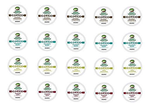 20 Count - Green Mountain Variety Organic Coffee K-Cups for Keurig K Cup Brewers and 2.0 Brewers - (4 Flavors, 5 K-cups each)