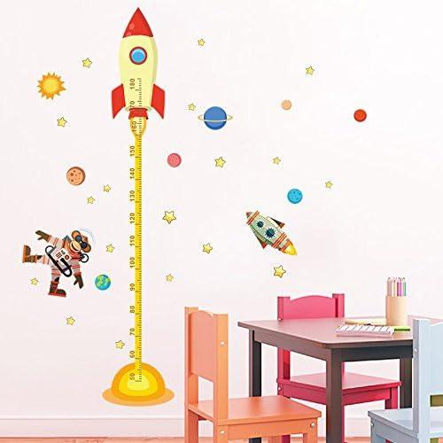 Medidor altura ni/ños Pegatina pared vinilo decorativo cohetes ovnis para cuartos bebes ni/ños juegos guarderias colegios de CHIPYHOME