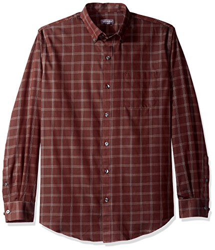 (Van Heusen Men's Wrinkle Free Twill Long Sleeve Button Down Shirt, Red Pinot Noir, Large )
