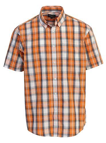 Gioberti Men's Plaid Short Sleeve Shirt, Orange/Gray/White Gradient, 4X Large