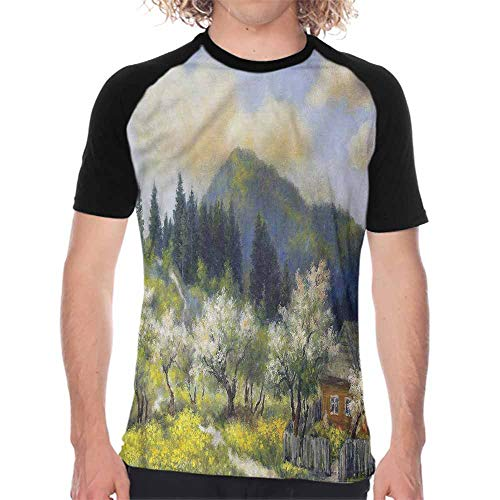 SellClothing Landscape,Boys Short Sleeve T-Shirts S-XXL(This is for Size Large) Village House with Garden,Loose Tee Shirt Baseball Jersey