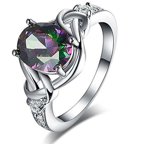 925 Sterling Silver 3 Braid (Veunora 925 Sterling Silver 8x10mm Oval Cut Rainbow and White Topaz Filled Ring Jewelry for Women)