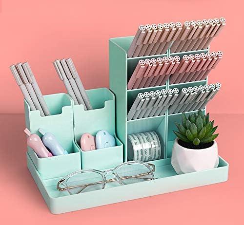 Pen Pencil Holder for Desk, Cute Stationery Home Office School Desktop Craft Art Supplies Accessory Crayon Caddy Box Organization Organizer Storage for Girl Kids (Green)