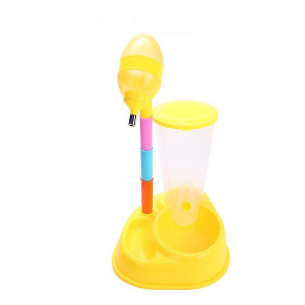 CW&T WW Automatic Pet Feeder Multifunctional 2 In 1 Dog Cat Water Bottle Feeder Bowl Height Adjustable Standing Drinker Dispenser,Yellow