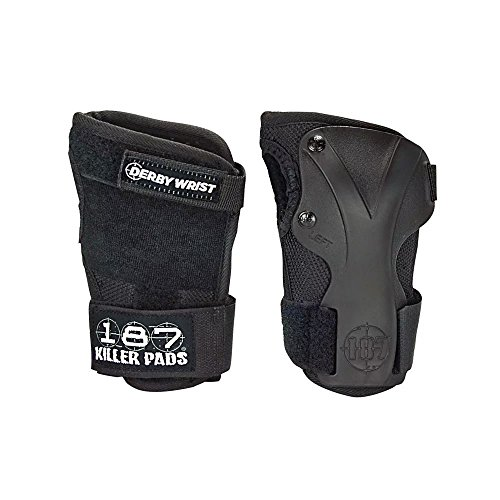 187 Killer Pads Derby Wrist Guards (Black, Large) - 187 Killer Pads