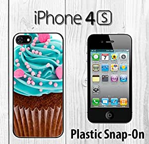 Chocolate cupcake Custom made Case/Cover/skin FOR iPhone 4/4s -Black- Plastic Snap On Case ( Ship From CA)