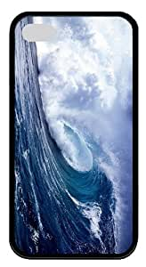 cover protective Ocean Waves TPU Black Case for iphone 4/4S