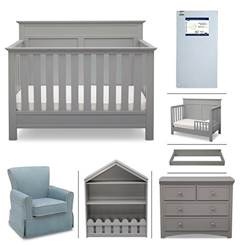 Crib Furniture - 7 Piece Nursery Set with Crib Mattress, Convertible Crib, Dresser, Bookcase, Glider Chair, Changing Top, Toddler Rail, Serta Fall River - Grey/Baby Blue