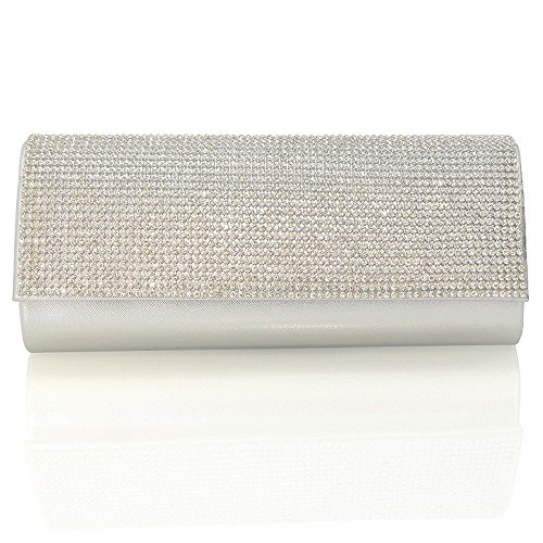 Essex Glam Abentasche Clutch Fukelnden Strassstein Mit Zusätzlichen Ketten Silber Ig5vuLIMR