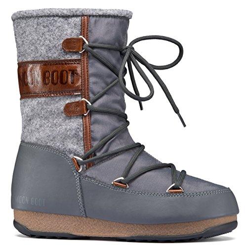 Moon Boot Womens Original Tecnica We Vienna Felt Waterproof Snow Mid Calf Winter Boots - Grey/Brown - 8 (Boots Snow Moon Winter)