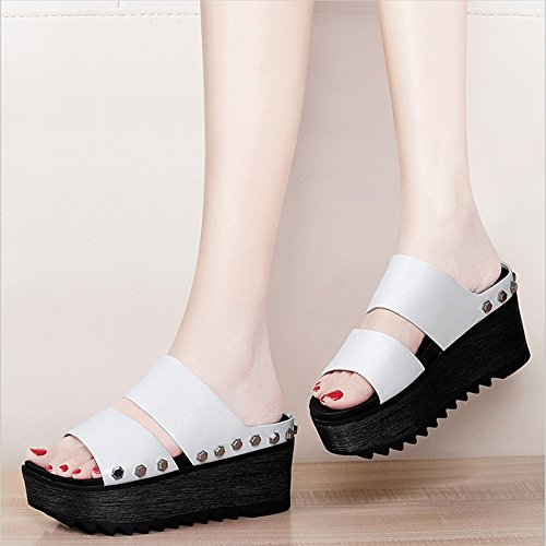 FEI Mules Platform Heels Cool Cool Slippers Summer Fashion Student Shoes Black White Sandals Casual (Color : White, Size : EU39/UK6/CN39) White
