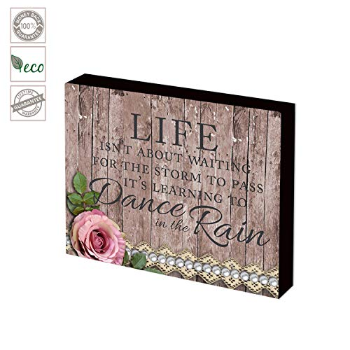 Classic Wood Box Sign-Life is Learning to Dance in the Rain-Decorative Wall Art Sign Size 6