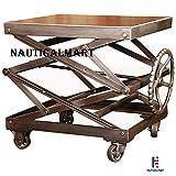 Vintage Industrial, Adjustable Scissor Lift Table By NauticalMart