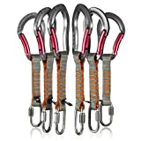 Fusion Climb 6-Pack 11cm Quickdraw Set with 1/4 Stainless Steel Quick Link/Techno Zoom Burgundy Bent Gate Carabiner
