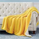 BEDSURE Sherpa Fleece Blanket Twin Size Yellow Gold