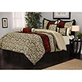 7pc Ivory Floral Motif Pattern Comforter Full Set, Stylish HighClass Scrollwork Filigree Flowers Design, French Country, Vibrant Bold Colors, Unisex, Luxury Moder Bedrooms