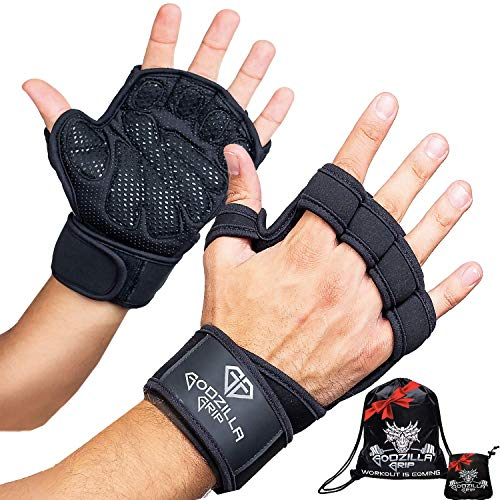 Fitness Gloves for Weightlifting, CrossFit - Black Workout Gloves with Wrist Support & Full Palm Protection for Men &Women - Hand Protection for Lifting, Workouts, & Cross Training (Black, Large)
