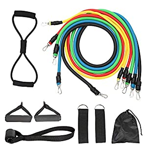 Exercise Resistance Bands Set,Fitness Stretch Workout Bands 11PC with Fitness Tubes, Foam Handles, Ankle Straps, Door…
