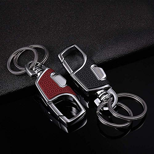 LanMa 2PCS Key Chain Stainless Combination of Luxury Car Business Keychain, Power & Elegance Key Holder for Men and Women - Black&RED
