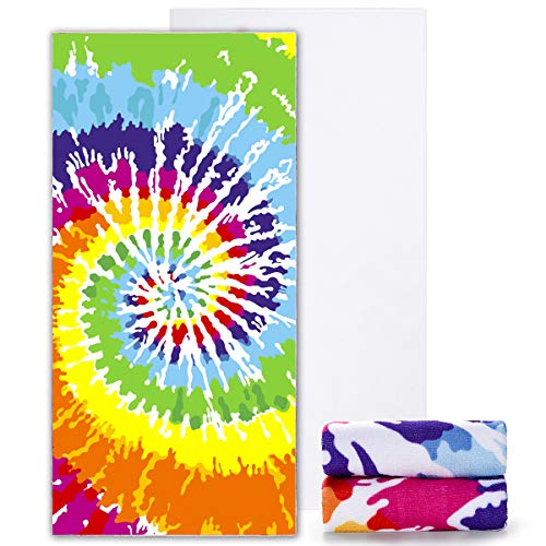 Ricdecor Beach Towels Oversized Tie-Dye Pattern Beach Towel Large Pool Towel (Colorful)