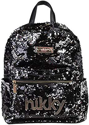 Nikky Womens 13 Inch Travel Black Backpack Lightweight Fashion Sequins Style Backpack