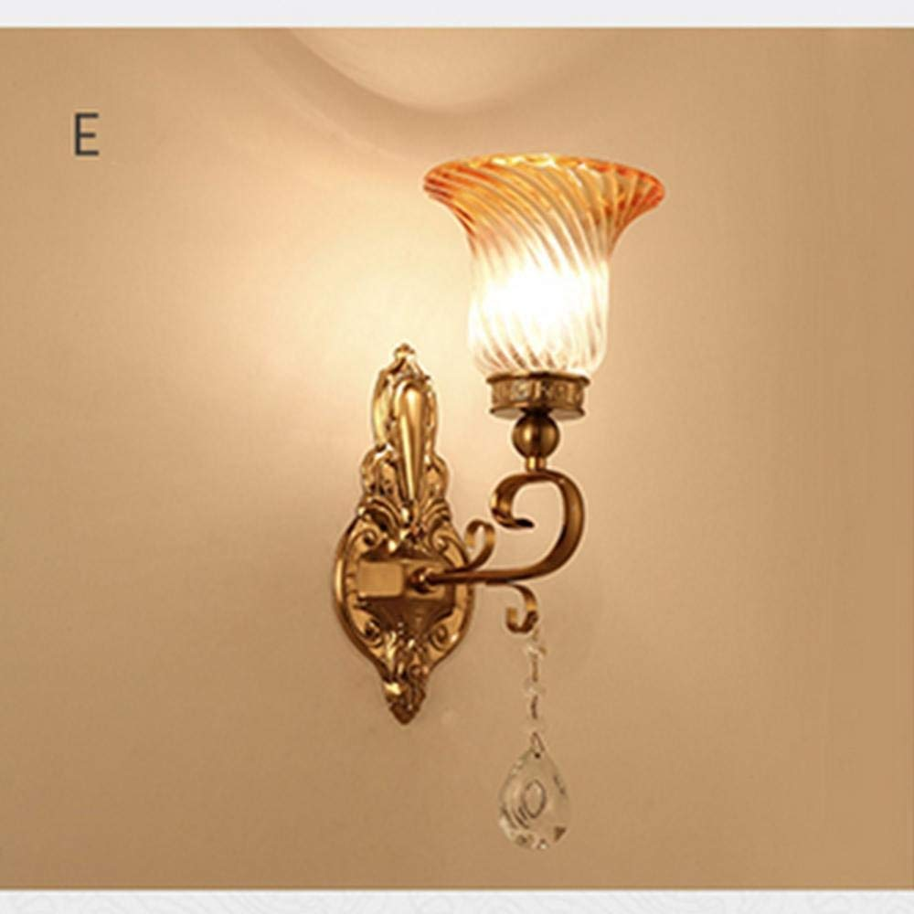 E European Antique Bronze Wall Lamp, LED Bedroom Bedside Lamp Living Room Aisle Wall Lamp Staircase Aisle Wall Lamp, H,G