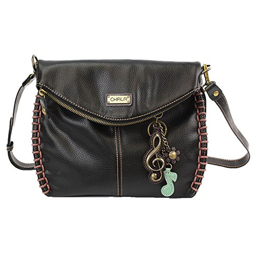 Chala Charming Crossbody Bag with Zipper Flap Top and Metal Chain - Black - Clef