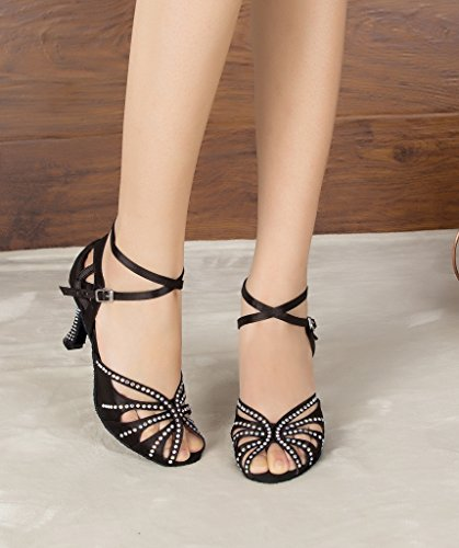 Dance Wedding TH162 Latin MINITOO Ballroom Satin Strap Crystals Cross Ladies Sandals Taogo Black WxTBATHwv