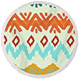 Pixels Round Beach Towel With Tassels featuring ''Navajo Missoni I'' by Pixels
