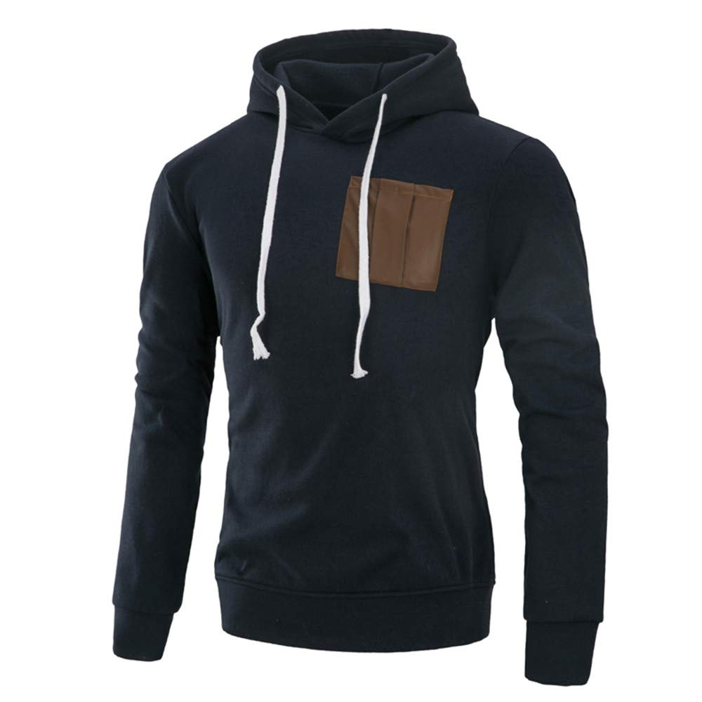 Realdo Mens Casual Solid Blouse Clearance Sale, Autumn Splicing Hoodie Sweatshirt