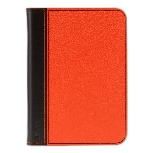(JIVO Kindle Case Cover Orange Textured Leather Brown Binding)