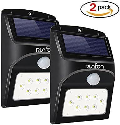 8 LED luces solares jardin,luz exterior led solar sensor ...