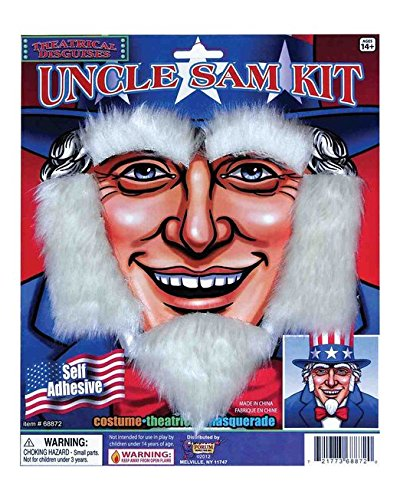 Forum Uncle Sam Patriotic July 4th Costume White Beard Facial Hair