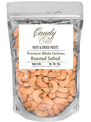 CandyOut Jumbo Cashews Roasted Salted 2 Pound Extra Large W210 in Sealed Stand Up - Cashews Gourmet