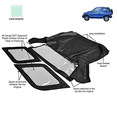 AutoBerry Compatible with KIA SPORTAGE 1996-2002 Convertible Soft Top Replacement (Clear Window) ()