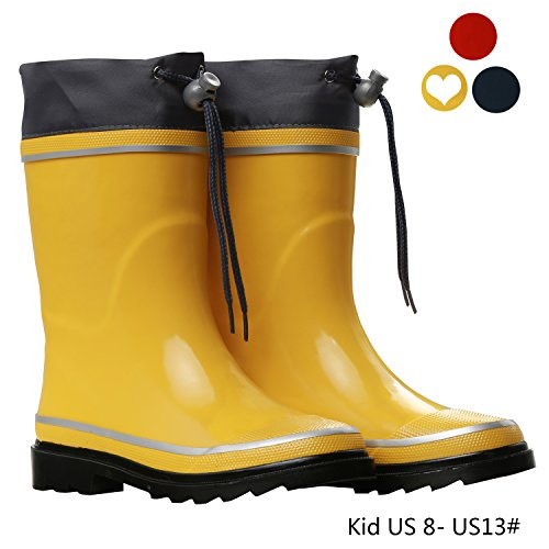 Boys Rubber Boots for Kids Outdoor Rain Shoes Gilrs Insulated Rainboot (Children/Toddler/Little Kid) by VVFamily ( Yellow, US 10 )