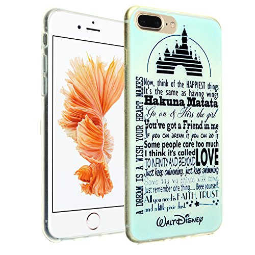 Walt Disney Case - iPhone 8 Plus Case, DURARMOR FlexArmor Walt Disney Quotes Flexible Bumper ScratchSafe TPU Thin Case Shock Absorbing Protector Cover for iPhone 8 Plus Disney Quotes