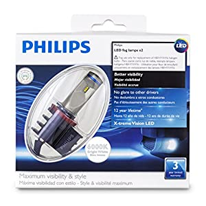 Philips 12834UNIX2 X-tremeVision LED Fog Light, Fits Fog H8, H11, H16, 2 Pack