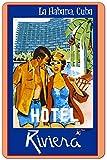 Habana Cuba Cuban Havana Hotel Riviera Caribbean Vintage Metal Plaque