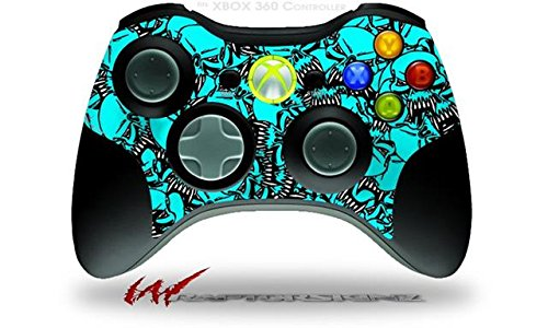 XBOX 360 Wireless Controller Decal Style Skin - Scattered Skulls Neon Teal (CONTROLLER NOT INCLUDED)
