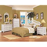 Santa Cruz 4 Piece Wicker Bedroom Group White