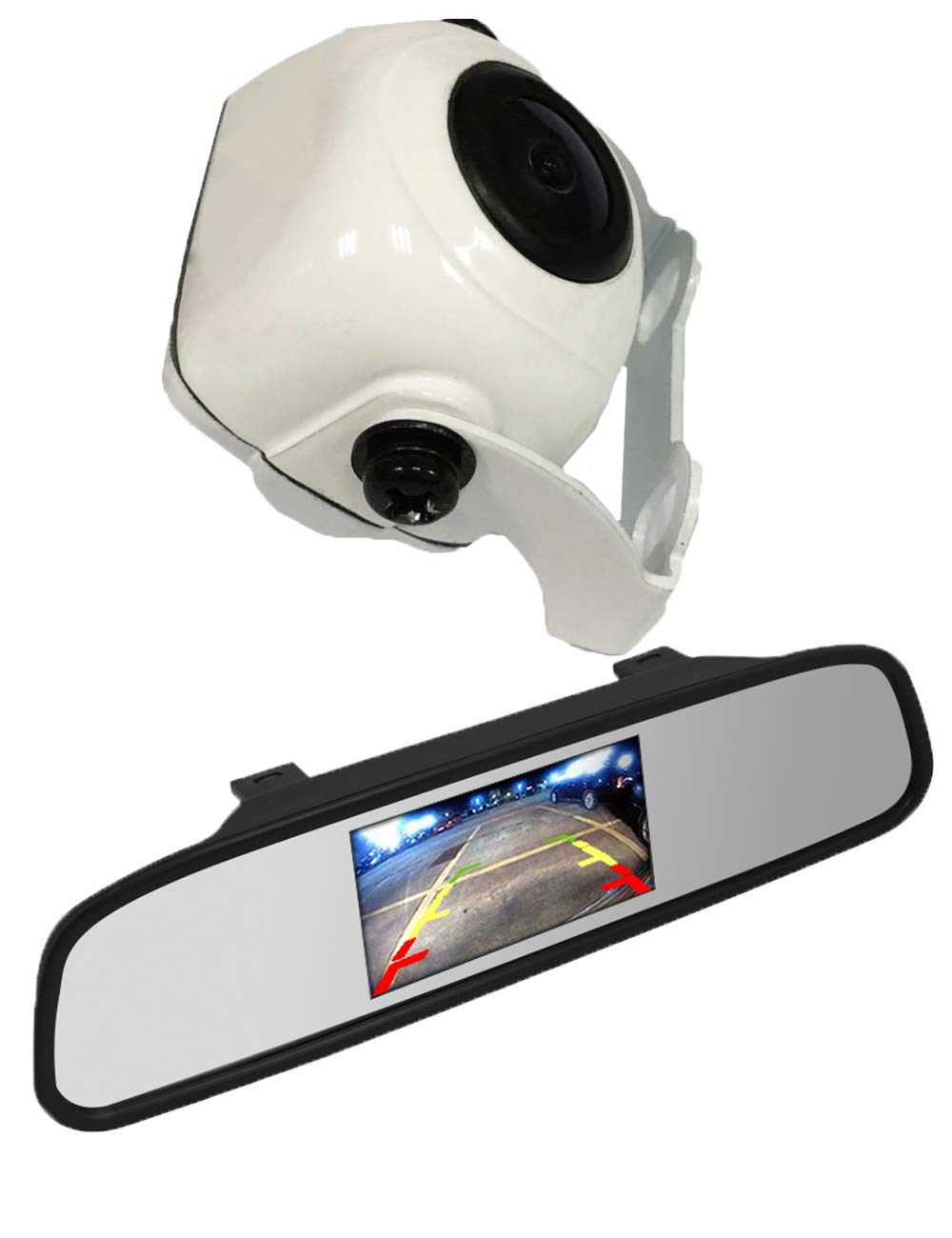 Auto Wayfeng WF/® HD Color CCD Rear View Backup Camera and 4.3 Mirror Monitor Kit for Car//Vehicle//Truck//Van Chrome Camera