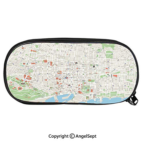 Pattern Pencil Bag Map of Barcelona City Streets Parks Subdistricts Points of Interests Decorative for Kids Boys Girls School Students Pencil Case with Zipper Children Pen Bag Pouch HolderBeige Lime City Park Kids Student Desk