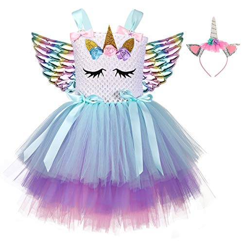 Tween Rainbow Unicorn Halloween Costumes - Birthday Unicorn Tutu Dress Costume for