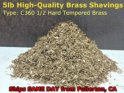 5 Pounds C360 Tempered Brass Shavings for Industrial, Science, Chemistry, Healing, Art, Crafts, Chakra, Orgon and Organite Metal Use