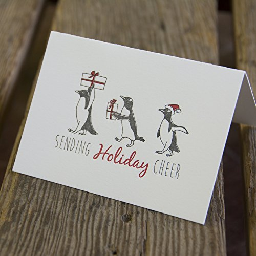 6 pack Penguin Holiday Card, letterpress printed, penguins and presents, eco friendly ()